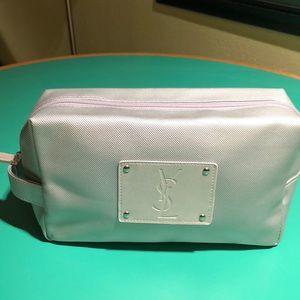 Yves Saint Laurent Silver Metallic Cosmetic Bag